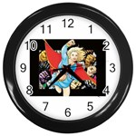 supergirl and the legend of super heroes Wall Clock (Black)