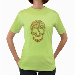 Triskull Womens  T Shirt (green)