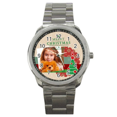 Merry Christmas By Joely   Sport Metal Watch   Kwmp80tvr0eh   Www Artscow Com Front