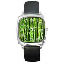 Bamboo Square Leather Watch by Siebenhuehner