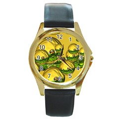 Balls Round Leather Watch (gold Rim)  by Siebenhuehner