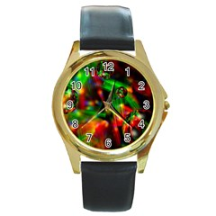 Fantasy Welt Round Leather Watch (gold Rim)  by Siebenhuehner