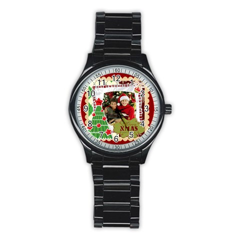 Merry Christmas By Merry Christmas   Stainless Steel Round Watch   H0rosctt15su   Www Artscow Com Front