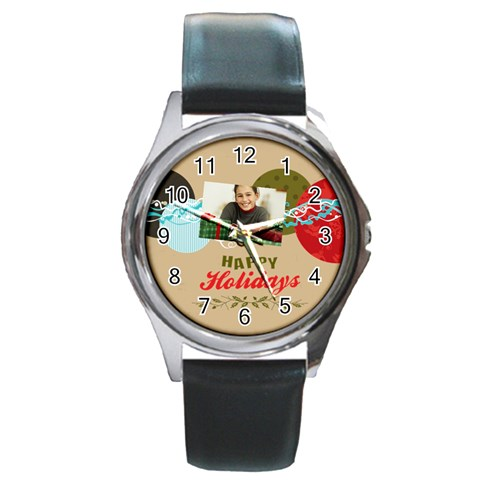 Merry Christmas By Merry Christmas   Round Metal Watch   641vbj02c7if   Www Artscow Com Front
