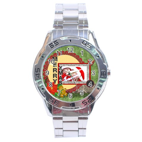 Merry Christmas By Debe Lee   Stainless Steel Analogue Watch   V89je0ye09mf   Www Artscow Com Front