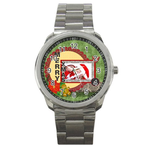 Merry Christmas By Debe Lee   Sport Metal Watch   Ovmg3h9bymhb   Www Artscow Com Front