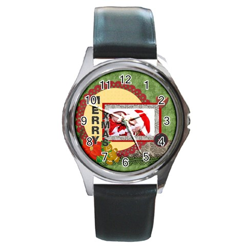 Merry Christmas By Debe Lee   Round Metal Watch   Fdjpf1d0um5x   Www Artscow Com Front