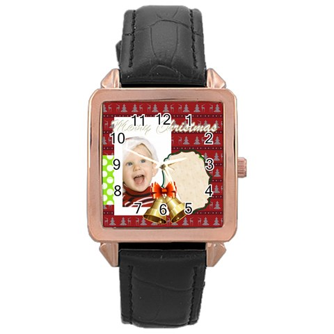 Merry Christmas By Man   Rose Gold Leather Watch    Ue9c4h2yphz6   Www Artscow Com Front