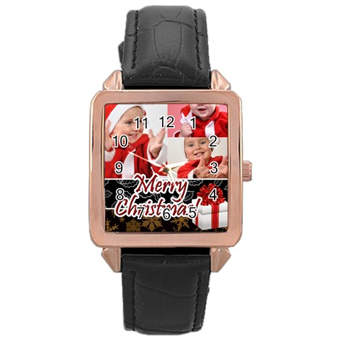 Merry Christmas By Man   Rose Gold Leather Watch    N3vfzn4mvbn9   Www Artscow Com Front