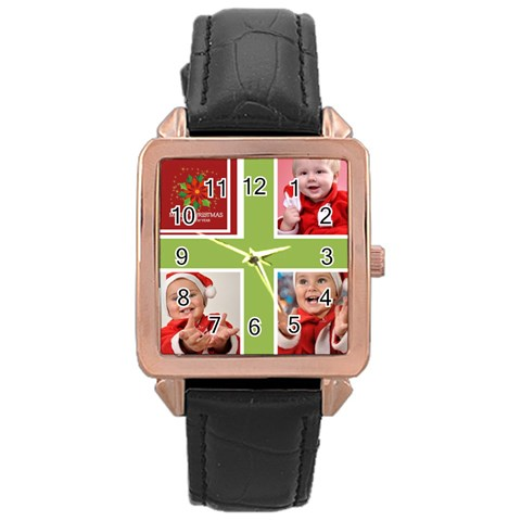 Merry Christmas By Man   Rose Gold Leather Watch    S0oyxeqaq9yn   Www Artscow Com Front