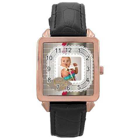 Merry Christmas By Man   Rose Gold Leather Watch    Lldwrq2ktorm   Www Artscow Com Front