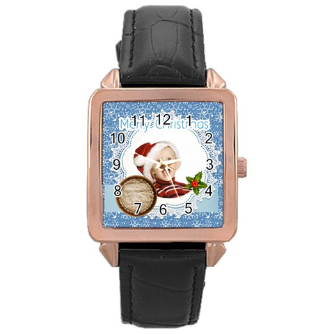 Merry Christmas By Man   Rose Gold Leather Watch    Gl7yfdixkt3e   Www Artscow Com Front