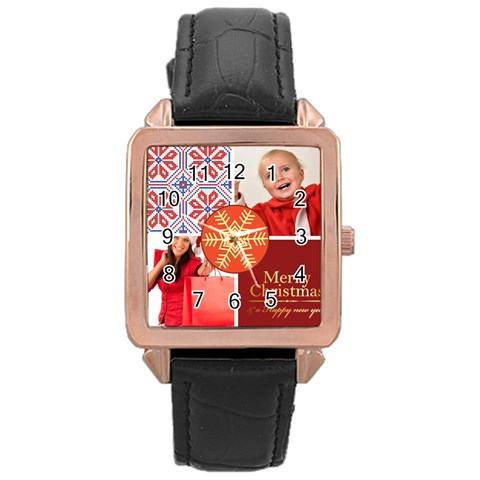 Merry Christmas By Man   Rose Gold Leather Watch    Qk2vv27esbzg   Www Artscow Com Front