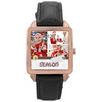 merry christmas - Rose Gold Leather Watch