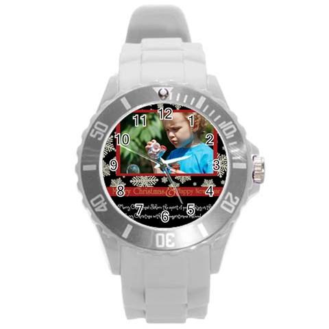 Merry Christmas By M Jan   Round Plastic Sport Watch (l)   Yik2ty212gwb   Www Artscow Com Front
