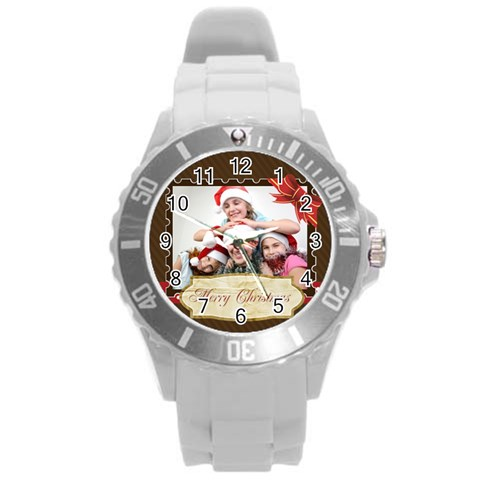 Merry Christmas By M Jan   Round Plastic Sport Watch (l)   76v8bsgk0q0m   Www Artscow Com Front