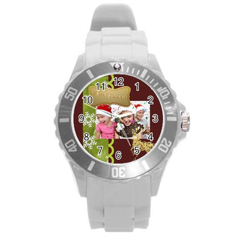 Merry Christmas By M Jan   Round Plastic Sport Watch (l)   3rsiz6n95gpg   Www Artscow Com Front