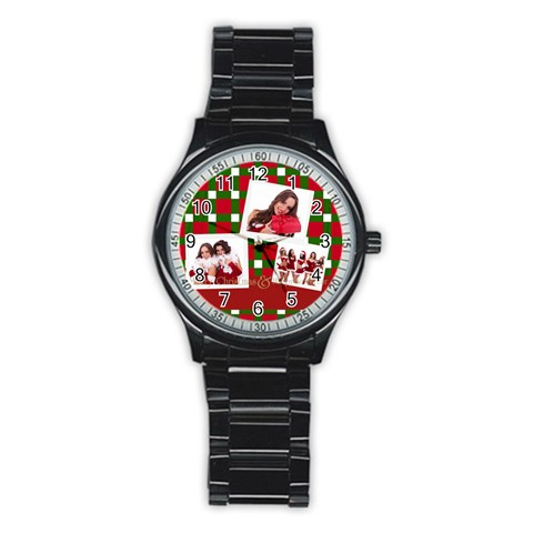 Mery Christmas By Angena Jolin   Stainless Steel Round Watch   6nmctt27dml4   Www Artscow Com Front