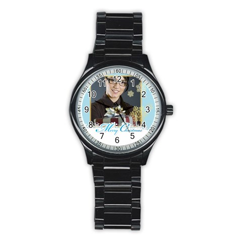 Mery Christmas By Angena Jolin   Stainless Steel Round Watch   Sgprizwskm09   Www Artscow Com Front