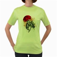 Undead Samurai Womens  T Shirt (green) by Contest1731890