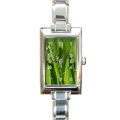 Grass Drops Rectangular Italian Charm Watch by Siebenhuehner
