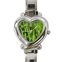 Grass Drops Heart Italian Charm Watch  by Siebenhuehner