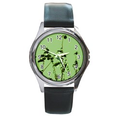 Mint Drops  Round Leather Watch (silver Rim) by Siebenhuehner