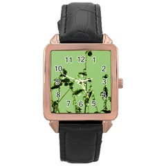 Mint Drops  Rose Gold Leather Watch  by Siebenhuehner