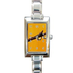 Tree Drops  Rectangular Italian Charm Watch by Siebenhuehner