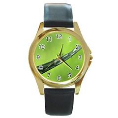 Green Drops Round Leather Watch (gold Rim)  by Siebenhuehner