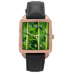 Bamboo Rose Gold Leather Watch  by Siebenhuehner