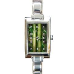 Bamboo Rectangular Italian Charm Watch by Siebenhuehner