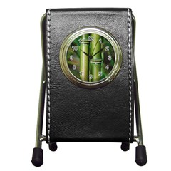 Bamboo Stationery Holder Clock by Siebenhuehner
