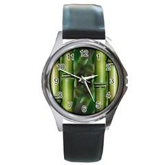 Bamboo Round Leather Watch (silver Rim) by Siebenhuehner