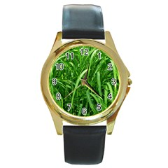 Grass Round Leather Watch (gold Rim)  by Siebenhuehner