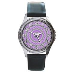Mandala Round Leather Watch (silver Rim) by Siebenhuehner