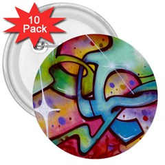 Graffity 3  Button (10 Pack) by Siebenhuehner