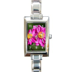 Flower Rectangular Italian Charm Watch by Siebenhuehner