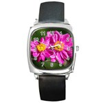 Flower Square Leather Watch Front