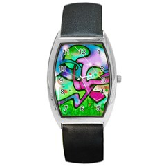 Graffity Tonneau Leather Watch by Siebenhuehner
