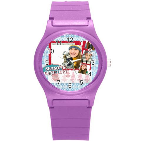 Merry Christmas By Merry Christmas   Round Plastic Sport Watch (s)   4k19n08xfsqw   Www Artscow Com Front