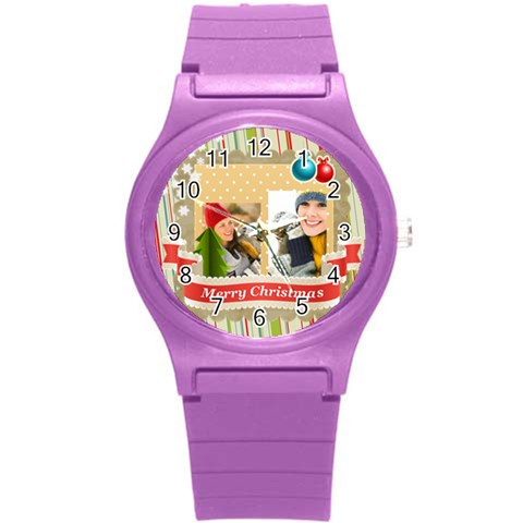 Merry Christmas By Merry Christmas   Round Plastic Sport Watch (s)   Qlta8c3zdpjj   Www Artscow Com Front