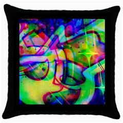 Graffity Black Throw Pillow Case by Siebenhuehner