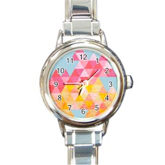 Pastel Triangles Round Italian Charm Watch by ILANA