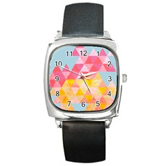 Pastel Triangles Square Leather Watch