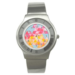 Pastel Triangles Stainless Steel Watch (slim)