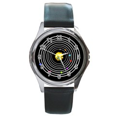 Solar System Round Leather Watch (silver Rim)