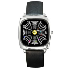 Solar System Square Leather Watch by PaolAllen2