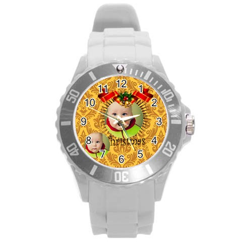 Merry Christmas By Xmas   Round Plastic Sport Watch (l)   P74g5f8b3wjk   Www Artscow Com Front