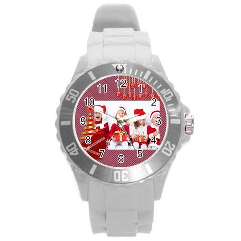 Merry Christmas By Xmas   Round Plastic Sport Watch (l)   2uod2h4yt5bm   Www Artscow Com Front